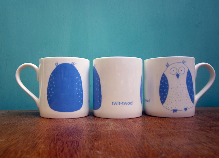 Twit twoo owls mug: eclectic  by The Black Rabbit, Eclectic