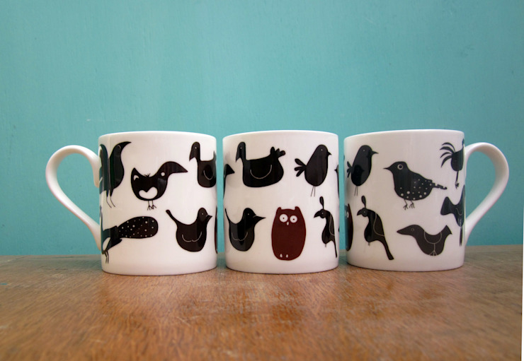 Mixed birds mug: eclectic  by The Black Rabbit, Eclectic
