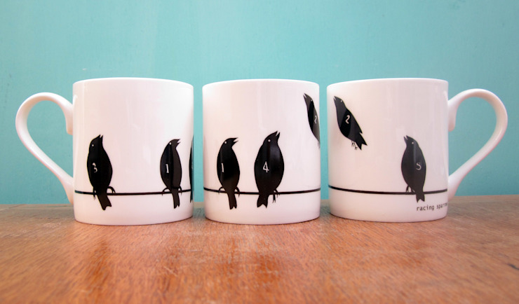 Racing sparrows mug: eclectic  by The Black Rabbit, Eclectic