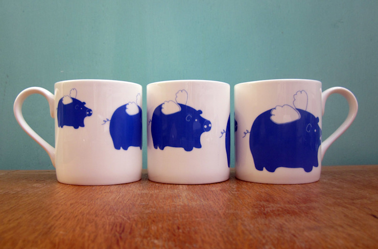 Flying pig mug: eclectic  by The Black Rabbit, Eclectic