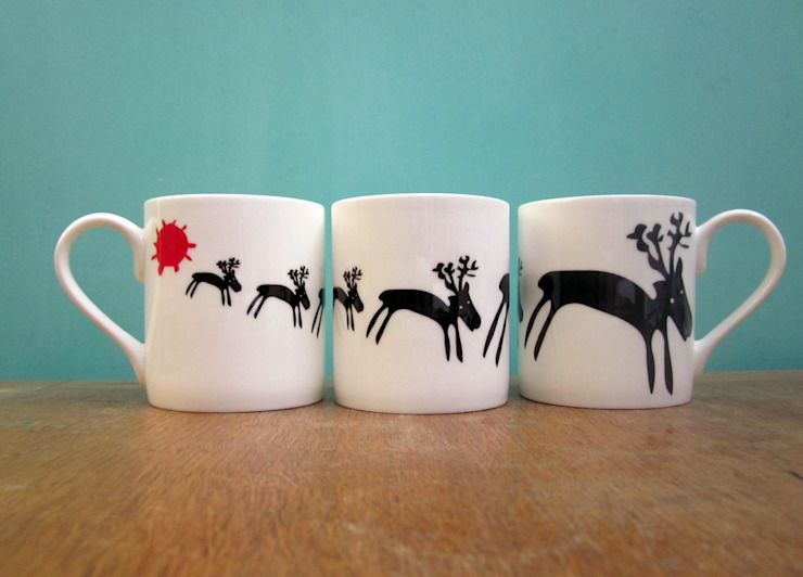 Reindeers mug: eclectic  by The Black Rabbit, Eclectic