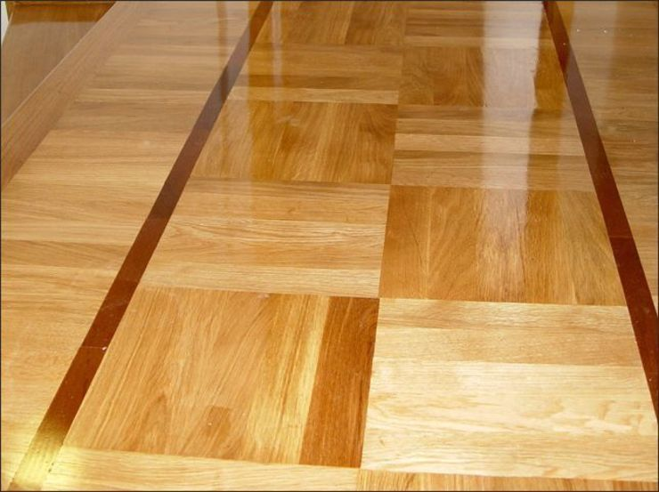 Square Basket Weave parquet Pattern Modern Corridor, Hallway and Staircase by Luxury Wood Flooring Ltd Modern