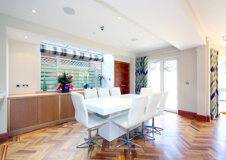 Rustic Herring bone Parquet Rustic style dining room by Artistico UK Ltd Rustic