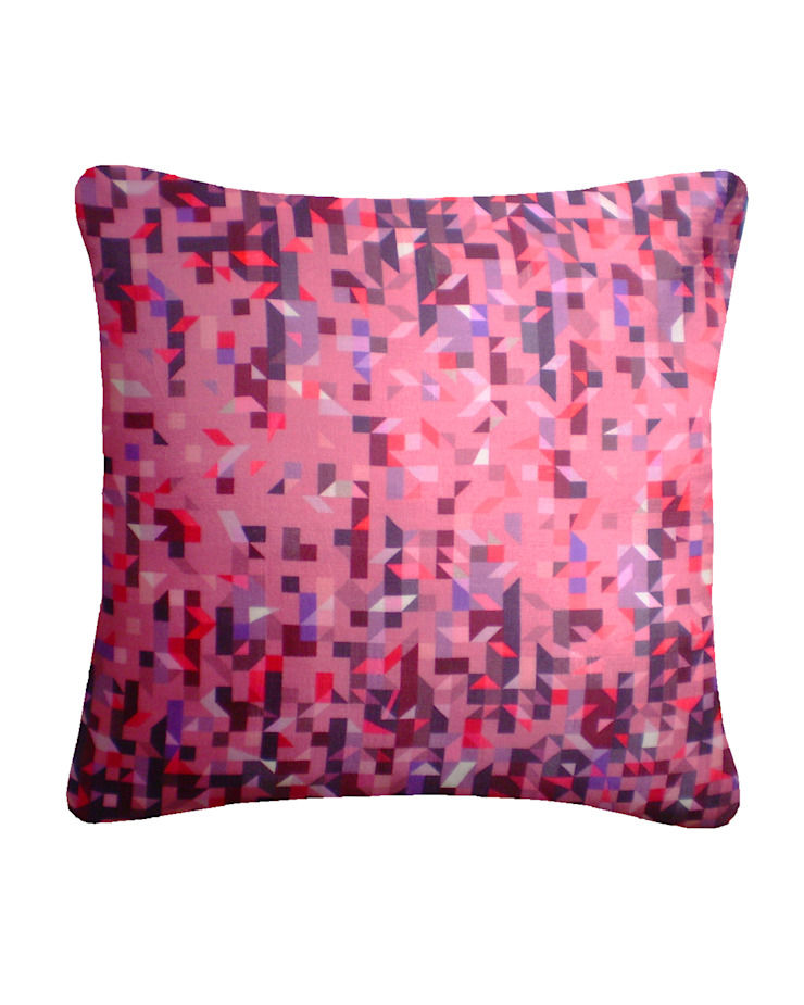 PIxelated Triangles Silk Cushion in Rose/Red, 45x45cm Nitin Goyal London BedroomTextiles
