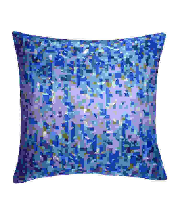 Pixelated Triangles Silk Cushion in Azure, 45x45cm Nitin Goyal London BedroomTextiles
