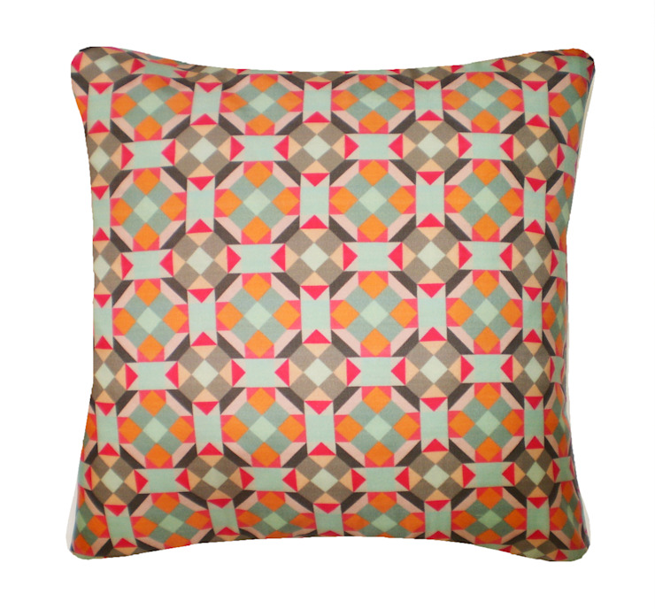 Rubik Silk Cushion in Orange Red, 45x45cm Nitin Goyal London BedroomTextiles