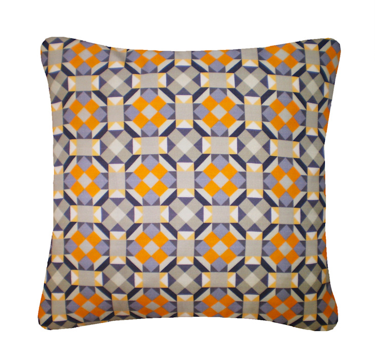 Rubik Silk Cushion in Yellow Grey, 45x45cm Nitin Goyal London BedroomTextiles