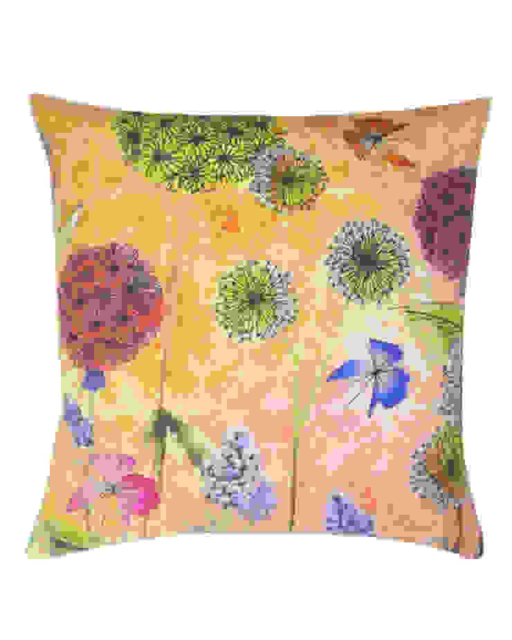 Bloom Garden Silk Cushion in Orange, 45x45cm Nitin Goyal London BedroomTextiles