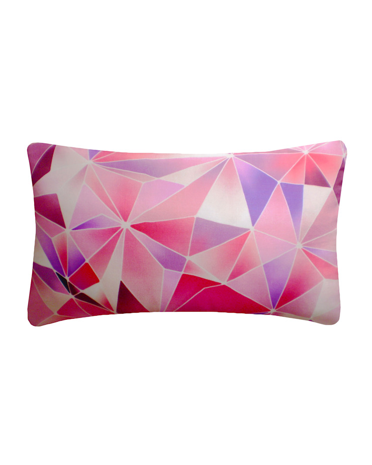 Stained Glass Silk Cushion in Rose/Red, 30x50cm Nitin Goyal London BedroomTextiles