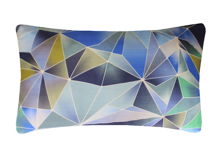 Stained Glass Silk Cushion in Blue, 30x50cm Nitin Goyal London BedroomTextiles