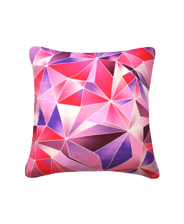 Stained Glass Silk Cushionin Rose/Red, 45x45cm Nitin Goyal London BedroomSofas & chaise longue
