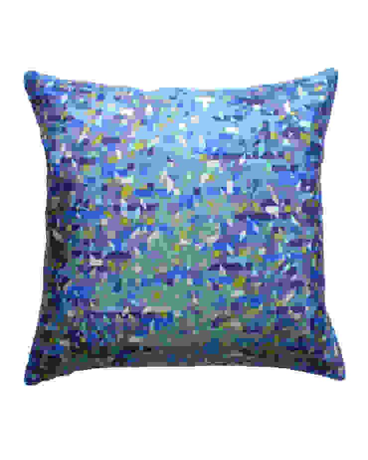 Pixelated Triangles Silk Cushion in Teal, 45x45cm Nitin Goyal London BedroomTextiles