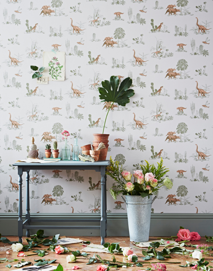 Dino Wallpaper Pink Green: eclectic  by Sian Zeng, Eclectic