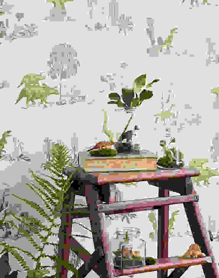 Dino Wallpaper Yellow Green: eclectic  by Sian Zeng, Eclectic