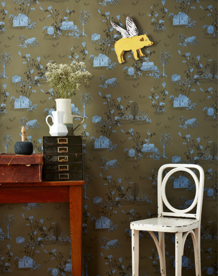 Woodlands Wallpaper Khaki Blue: country  by Sian Zeng, Country