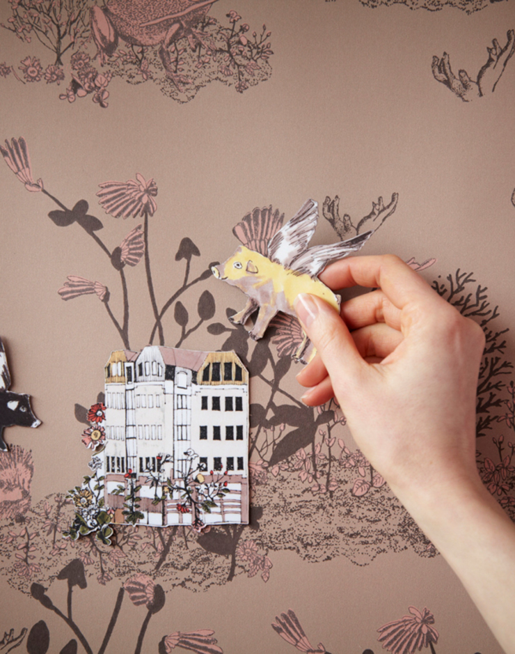 Magnetic Woodlands Wallpaper Brown Pink: country  by Sian Zeng, Country