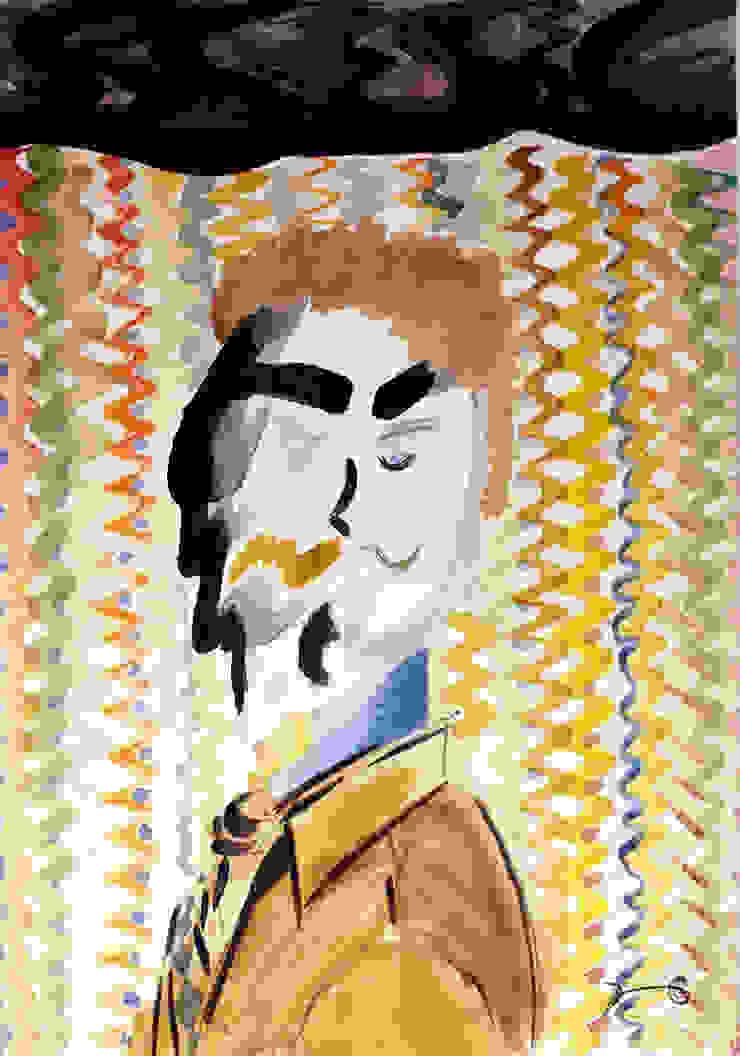 Blue Eye Man - Potrait watercolor. Liamvasik ArtWorks 2015 de Liamvasik Ltd. - Online ArtWorks Gallery Moderno