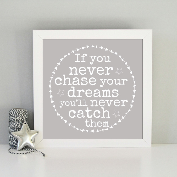 Framed Chase your dreams inspirational art print : modern  by Always Sparkle, Modern