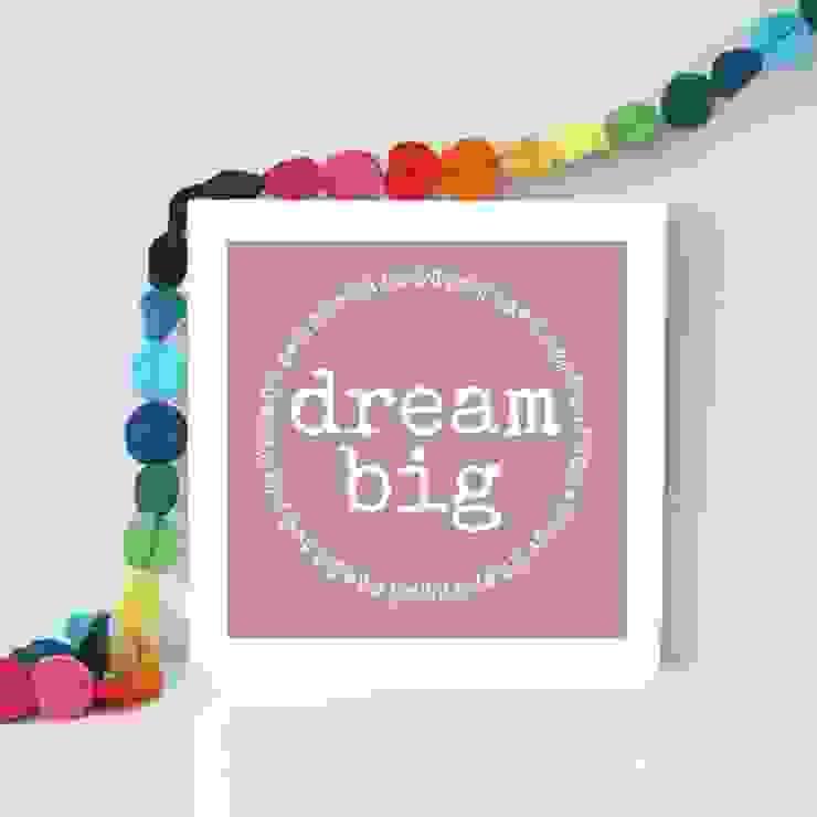 Bright and colourful 'Dream big' framed art print: modern  by Always Sparkle, Modern