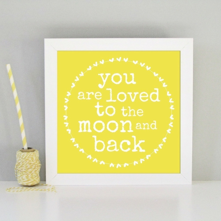 You are loved to the moon and back framed art print: modern  by Always Sparkle, Modern