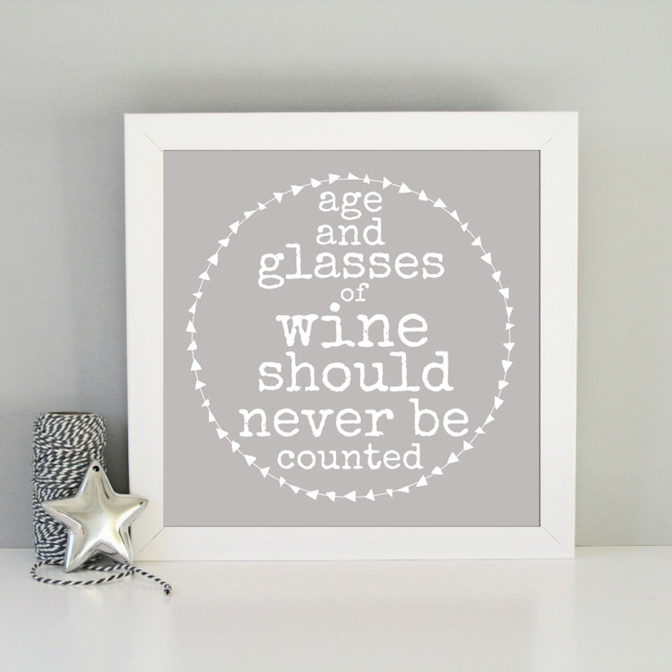 Humorous age & wine framed art print: modern  by Always Sparkle, Modern