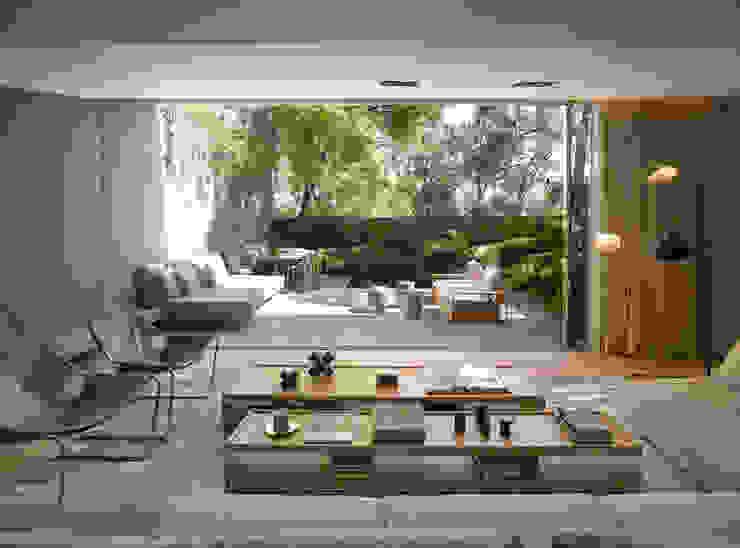 Casa Barrancas: Salas de estilo  por Ezequiel Farca, Moderno