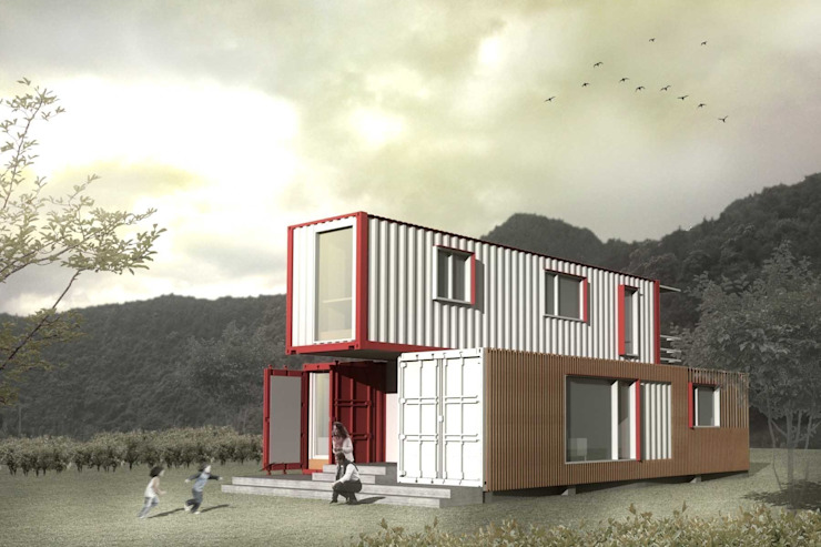 Container house rendering Casas estilo moderno: ideas, arquitectura e imágenes de thinkTREE Architects and Partners Moderno