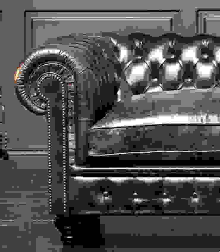 Sofá chesterfield cuero envejecido -efecto pull up- SILLABARCELONA SalonesSofás y sillones