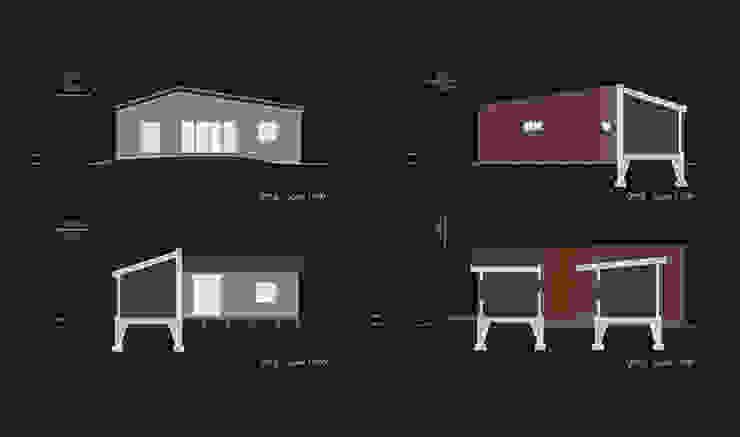 Elevations Modern balcony, veranda & terrace by thinkTREE Architects and Partners Modern