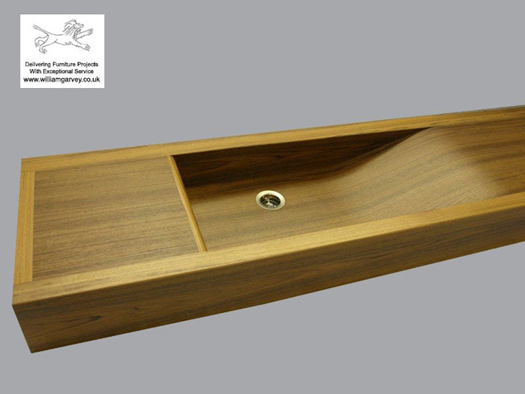 Bespoke Long Wave teak sink from William Garvey by William Garvey Ltd Modern