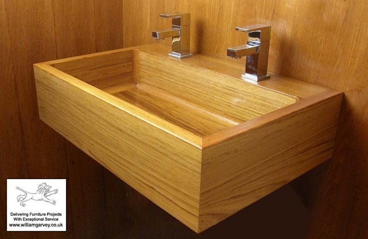 Teak Geo basin and teak tiles: modern  by William Garvey Ltd, Modern
