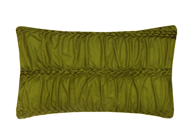 Hand Smocked Wave Striped Cushion in Lime, 30x50cm: modern  by Nitin Goyal London, Modern