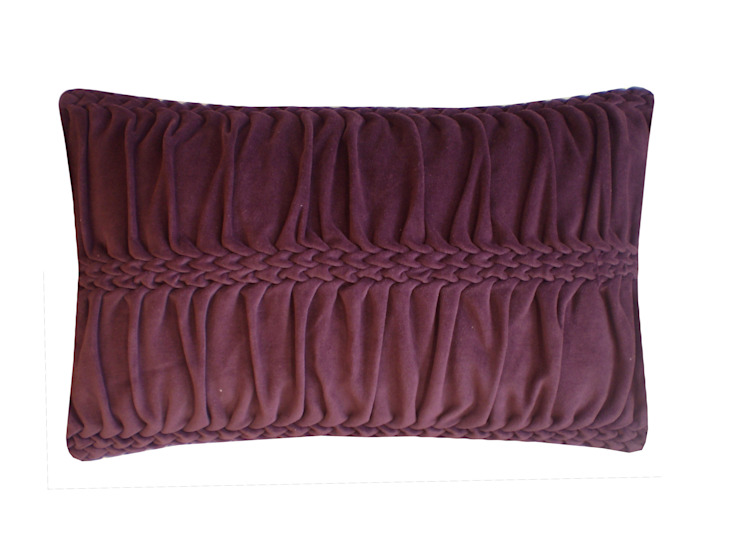 Hand Smocked Wave Striped Cotton Velvet Cushion in Eggplant, 30x50cm: modern  by Nitin Goyal London, Modern