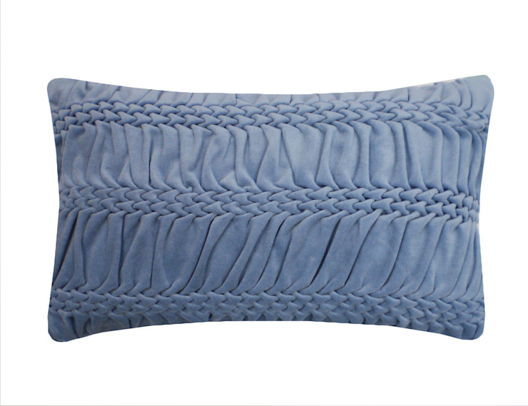 Hand Smocked Striped Wave Cushion in Blue, 30x50cm Nitin Goyal London BedroomTextiles