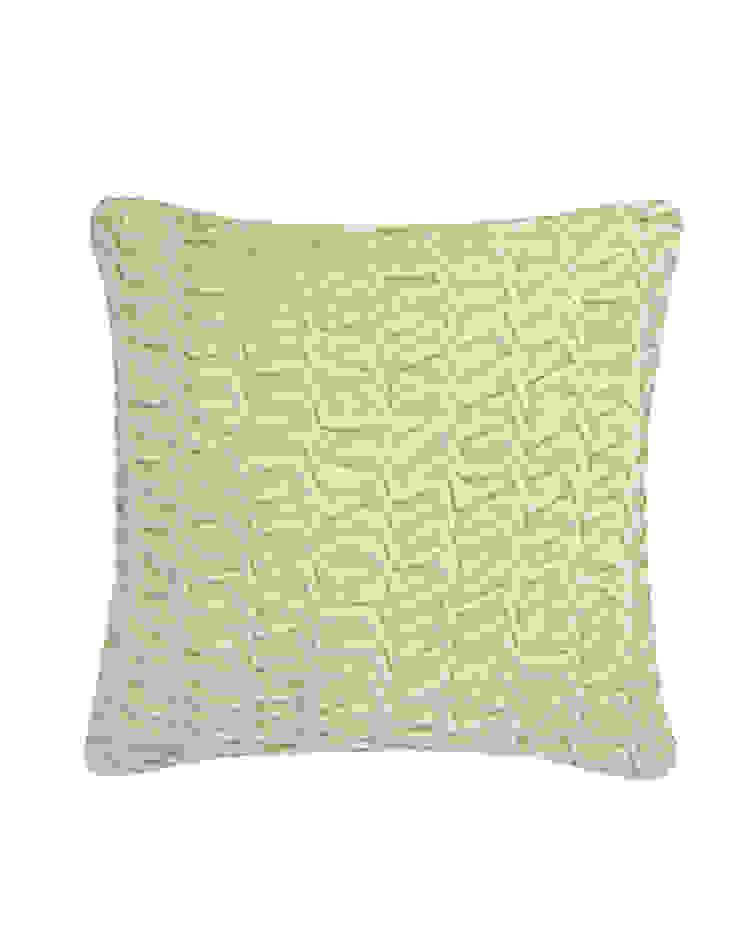 Hand Smocked Swirl Cotton Velvet Cushion in Cream, 40x40cm Nitin Goyal London BedroomTextiles