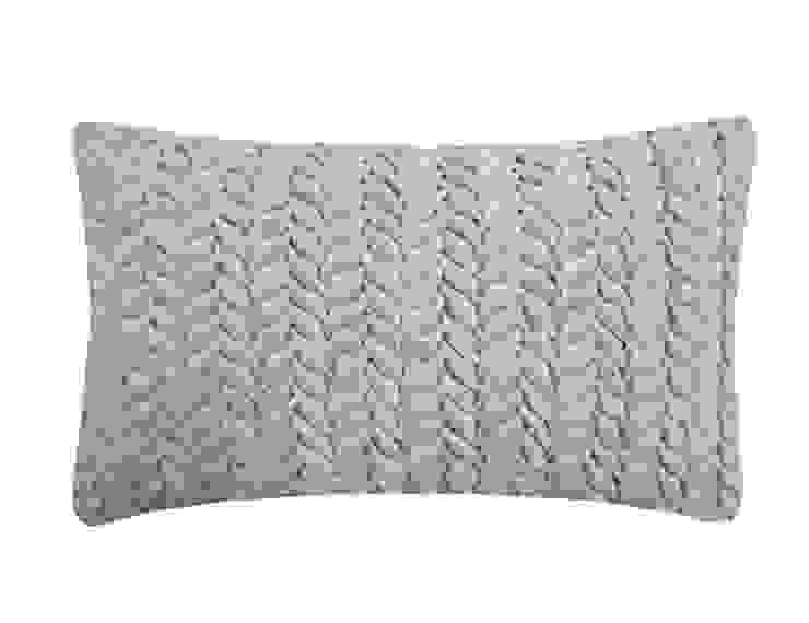 Hand Smocked Leaf Cotton Velvet Cushion in Duck Egg, 30x50cm Nitin Goyal London BedroomTextiles