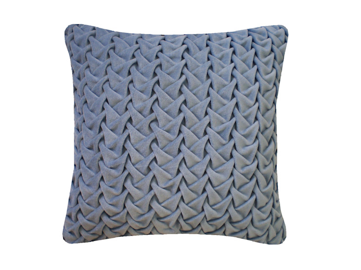 Hand Smocked Large Wave Cotton Velvet Cushion in Blue, 40x40cm: modern  by Nitin Goyal London, Modern