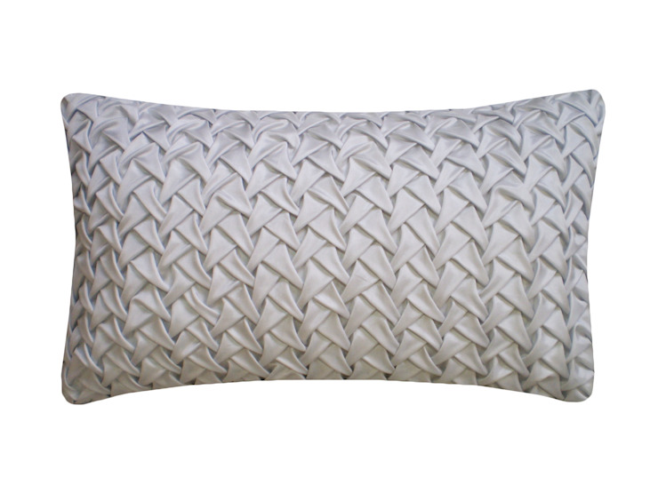 Hand Smocked Large Wave Cushion in Silver Grey, 30x50cm Nitin Goyal London BedroomTextiles