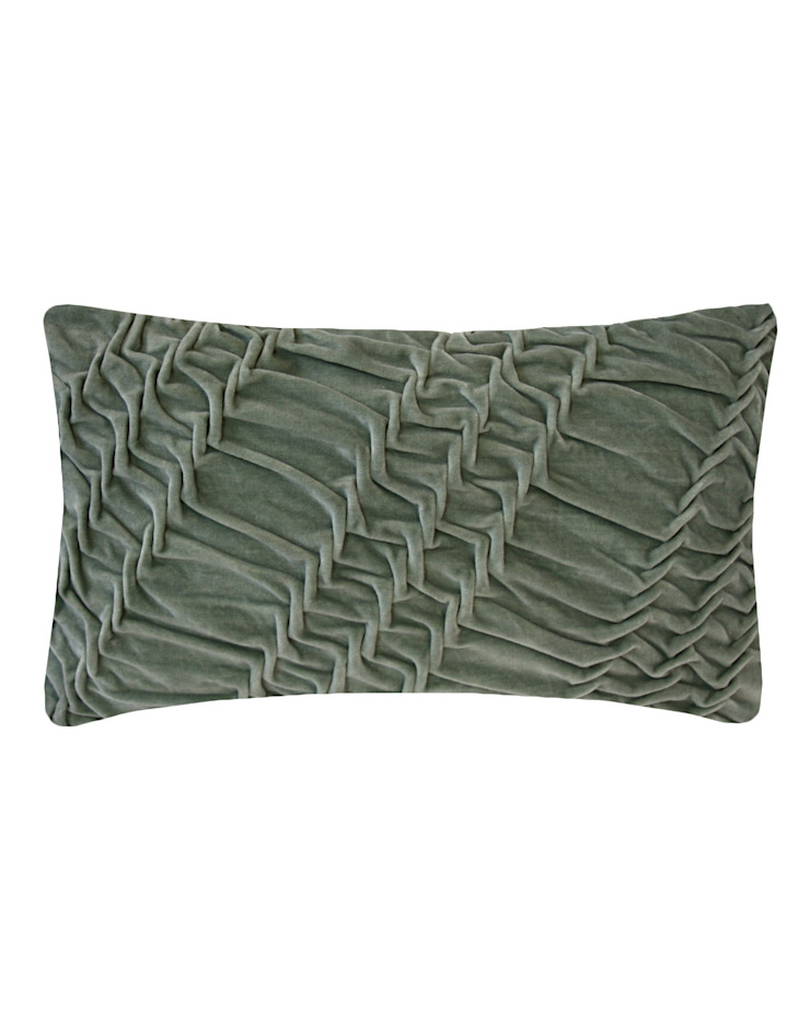 Hand Smocked Striped Swirl Cotton Velvet Cushion in Grey, 30x50cm Nitin Goyal London BedroomTextiles
