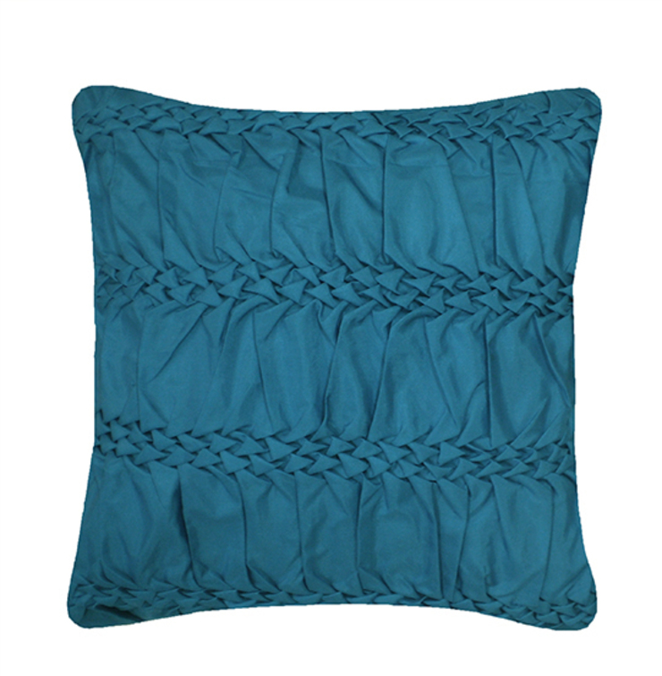 Hand Smocked Striped Wave Cushion in Teal, 40x40cm: modern  by Nitin Goyal London, Modern