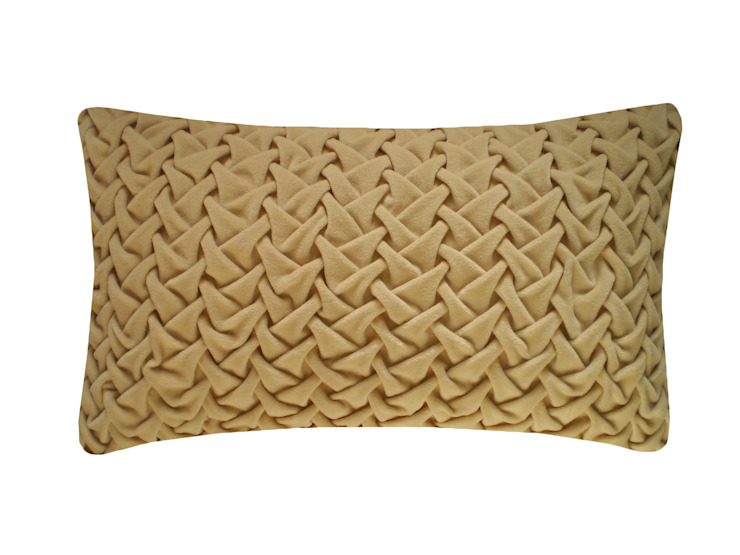 Hand Smocked Large Wave Cotton Velvet Cushion in Natural, 30x50cm: modern  by Nitin Goyal London, Modern