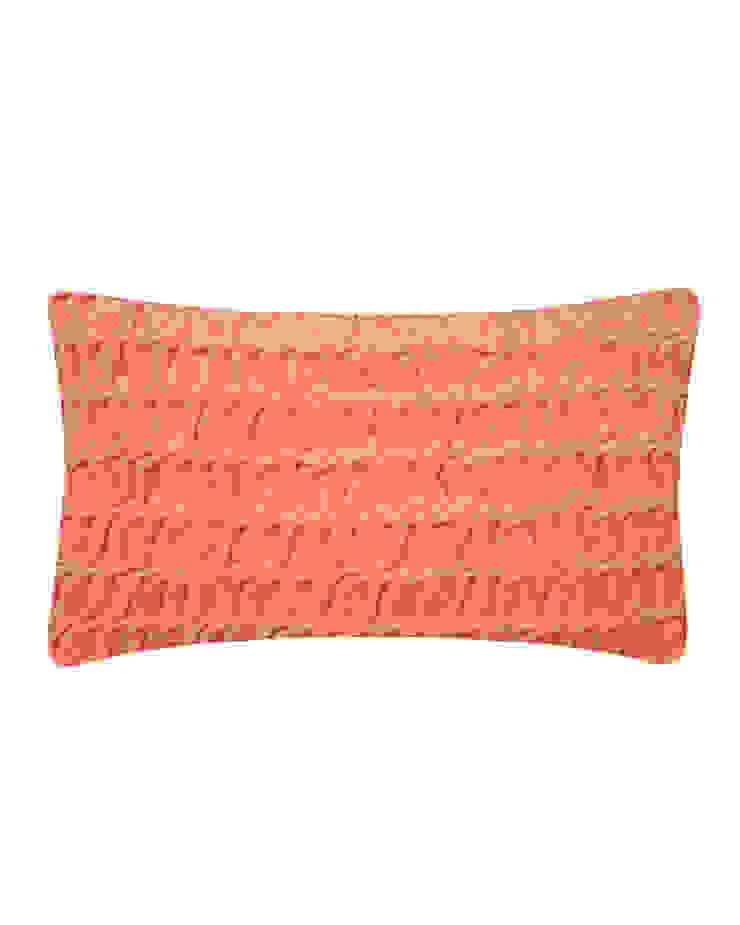 Hand Smocked Swirl Cotton Velvet Cushion in Persimon, 30x50cm Nitin Goyal London BedroomTextiles