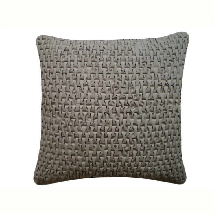 Hand Smocked Capsule Cotton Cushion in Light Grey, in 50x50cm: modern  by Nitin Goyal London, Modern