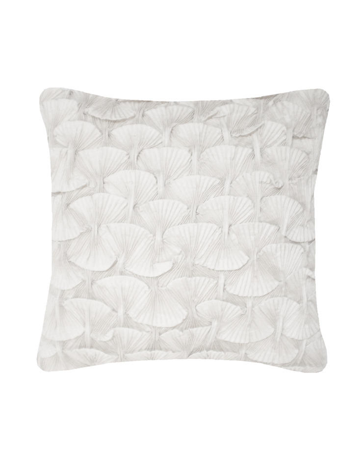 Hand Smocked Shell Cushion in White, 40x40cm Nitin Goyal London BedroomTextiles