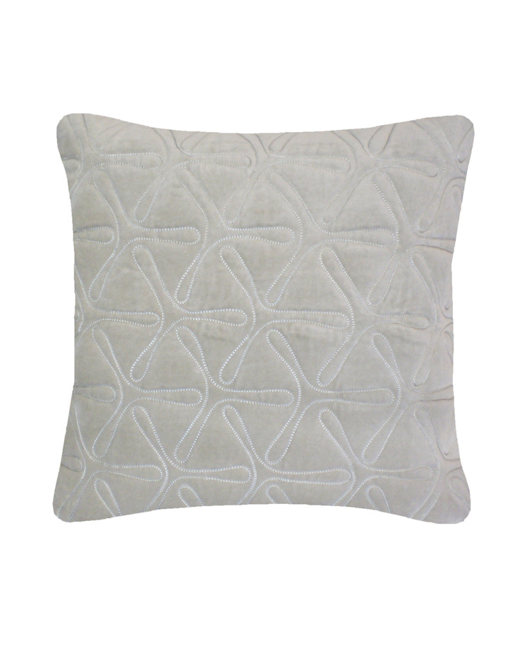 Quilted Geo Cotton Velvet Cushion in Dove Grey, 40x40cm: modern  by Nitin Goyal London, Modern