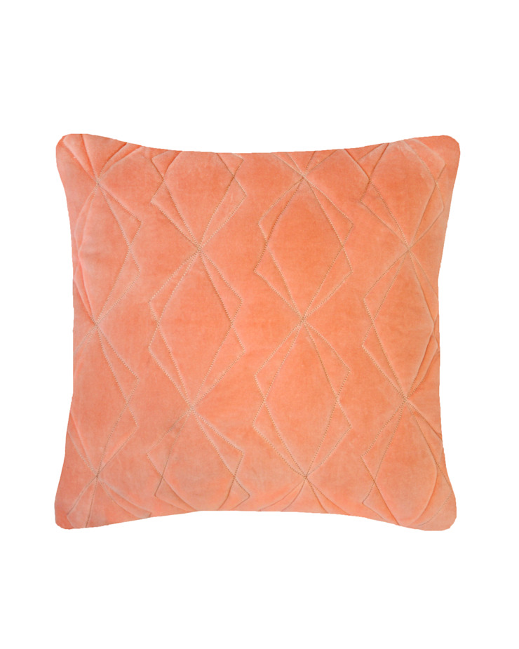 Quilted Duo Cotton Velvet Cushion in Persimmon, 40x40cm: modern  by Nitin Goyal London, Modern