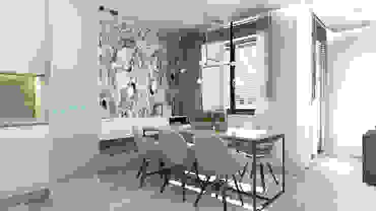 63 m2 Minimalistyczna jadalnia od ADV Design Minimalistyczny