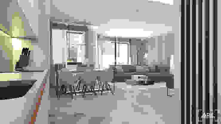 63 m2 Minimalistyczny salon od ADV Design Minimalistyczny