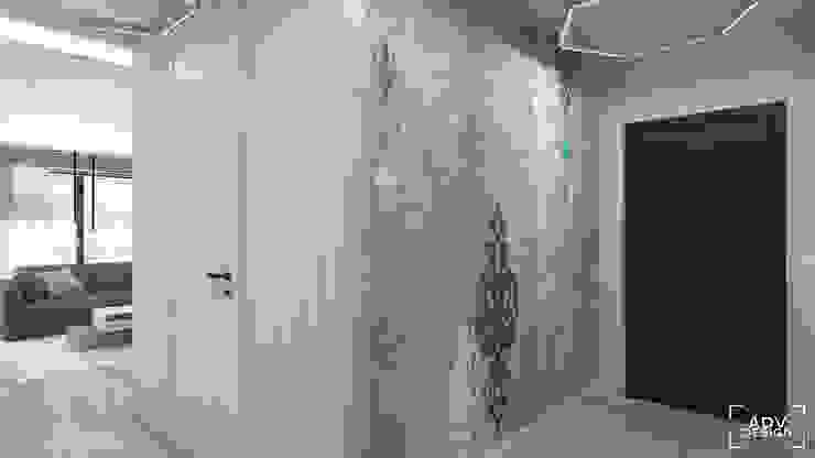 63 m2 Minimalistyczny korytarz, przedpokój i schody od ADV Design Minimalistyczny