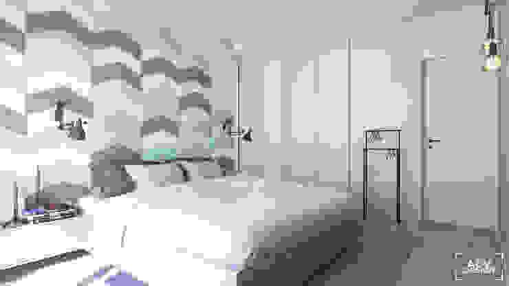 63 m2 Minimalistyczna sypialnia od ADV Design Minimalistyczny